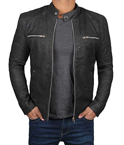 Decrum Leather Biker Jacket Men | [1100305] Rogers Black, XL