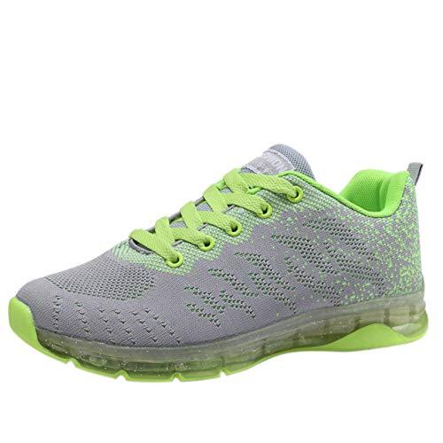DAIFINEY Damen Sneaker Mesh Sportlicher Trainingsschuh Sportschuhe Laufschuhe Schnürer Turnschuhe(1-Grün/Green,35)