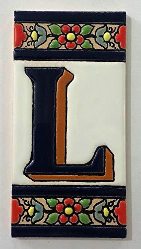 ARTESANÍA ROCA Letras y números de azulejo cerámico. Modelo Flor Azul. Medidas 11cm Altura x 5,5 cm Ancho Made IN Spain (L Letra)