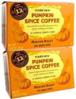 Trader Joe's Pumpkin Spice Medium Roast Coffee, 12 Single Serve K-Cup Box (Pack of 2)