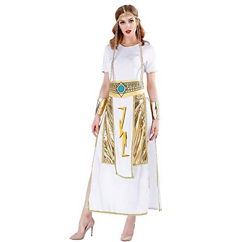 CGBF - Disfraz de diosa griega con diseño de reina romana para Halloween, color blanco, XL