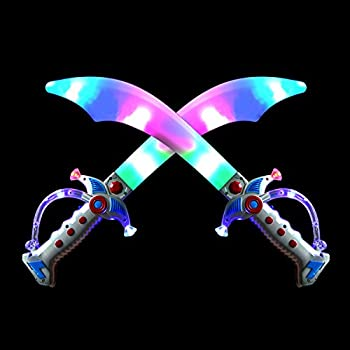 2 Deluxe Pirate 19.5  LED Light Up Flashing Buccaneer Swords with Motion Activated Clanging Sounds for Realistic Buccaneer Pirate Play Halloween Party by Spooktacular Creations