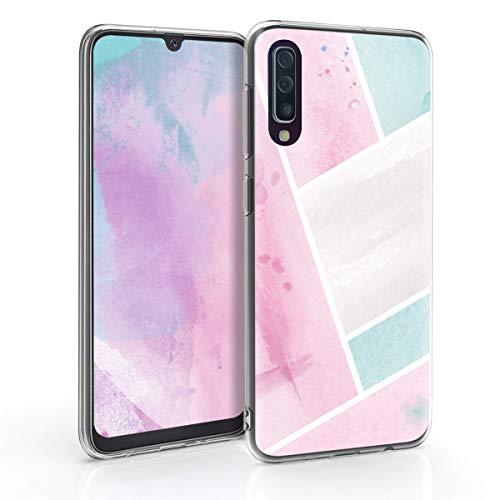 kwmobile Funda Compatible con Samsung Galaxy A50 - Carcasa de TPU y con Parches de Acuarela en Rosa Claro/Menta/Blanco