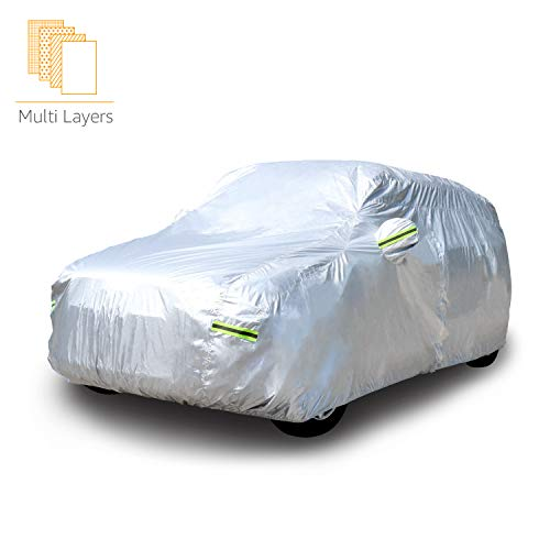 AmazonBasics - Telo copriauto argentato, resistente alle intemperie - in polietilene vinil acetato con cotone, per SUV fino a 490cm