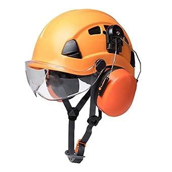 ロッククライミングヘルメット、軽量調整可能なハイキングレスキューヘルメット安全ヘルメット、排気イヤーマフ付き、登山用空中作業用