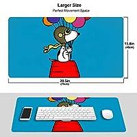 Snoopy マウスパッド 光学マウス対応 パソコン 周辺機器 超大型 防水 洗える 滑り止め 高級感 耐久性が良い 40*75cm