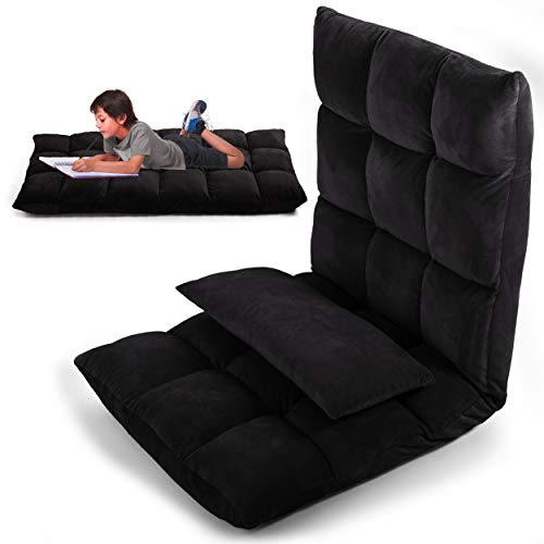 LayBäck Floor Chair with Back Support | Pillow Floor Gaming Chair with Floor Cushions for Adults | Foldable Adjustable Ergonomic Recliner | Black Micro Plush Fabric | with Pocket and Bonus Pillow