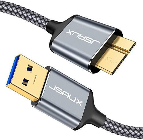 JSAUX Cavo Micro USB 3.0, Cavo USB A a Micro B [2 Pezzi, 1m+2m] Cavo per Disco Rigido Esterno Cavo Intrecciato in Nylon per Samsung Galaxy S5, Note 3, Disco Rigido Seagate, Disco Rigido WD-Grigio
