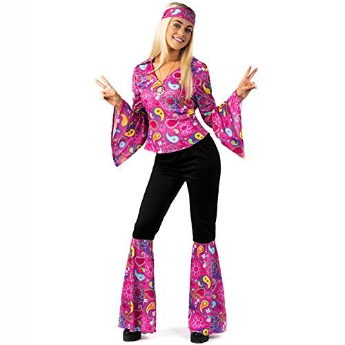 Morph Costumes Hippie Costume Women Pink 60s Fancy Dress For Women Medium