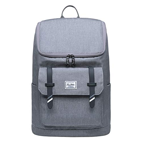 "KAUKKO Rucksack Roll Top Backpack Lässiger Vintage Tagesrucksack Herren Laptop Schulrucksack fit 15\"" Notebook Bag für Wandern Reisen Camping (Hellgrau[KF10])"