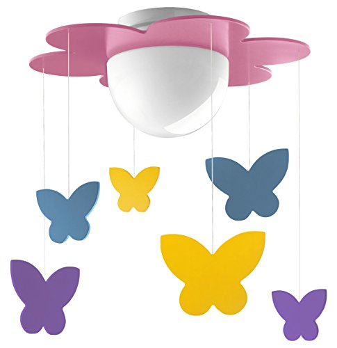 Philips Lighting Lámpara LED de techo infantil E27, 11 W, Meria rosa, 38.5 x 38.5 x 45 cm
