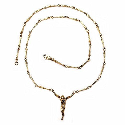 Colgante crucifijo oro 18k Cristo Dalí cadena clavos 51cm [AB4665]