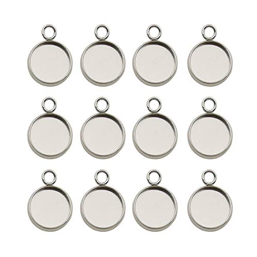 50pcs Fit 12mm Stainless Steel Round Blank Bezel Pendant Trays Base Cabochon Settings Trays Pendant Blanks for Jewelry Making DIY Findings (10162-12mm)