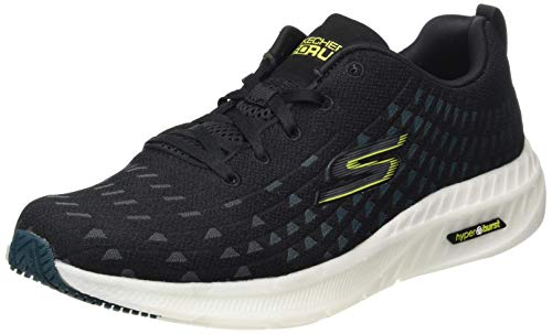 Skechers Performance Go Run Smart Hyper-Solar View, Zapatillas Hombre, Negro (BKBL Black Textile/Blue Trim), 42.5 EU