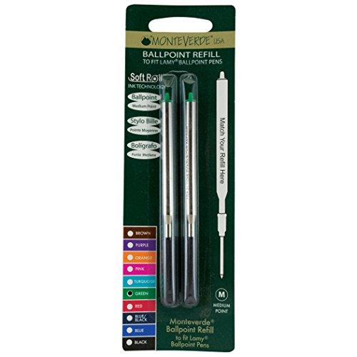 Monteverde Soft Roll Ballpoint Refill for Lamy Ballpoint Pens, Green, 2 Pack (L132GN) Photo #4