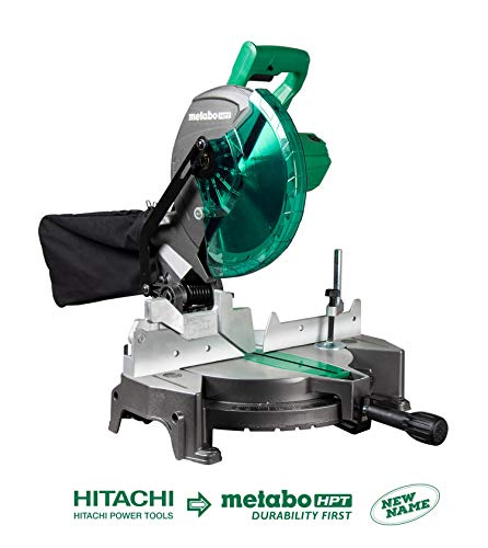 Metabo HPT C10FCGS 10' Compound Miter Saw, 15-Amp Motor, Single Bevel, 0-52° Miter Angle Range, 0-45° Bevel Range, Large Table, 10' 24T TCT Saw Blade