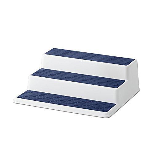 Copco 5224645 Non-Skid 3-Tier Spice Pantry Kitchen Cabinet Organizer, 10-Inch, White/Blue