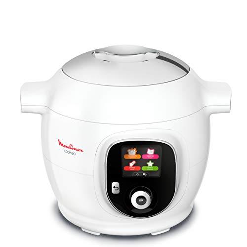 Moulinex Cookeo + Smart Multicooker, 100 recetas preprogramadas, cucharón y programa Weight Watchers incluido, 6L, hasta 6 personas, 6 modos de cocción, 1600 W, blanco YY4407FB