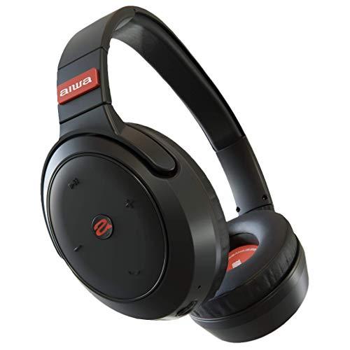 Aiwa Arc-1 ANC Bluetooth Kopfhörer, mit Active Noise Cancelling Headset, Kabellose Ohrhörer mit 40 Stunden Spielzeit, Inklusive Reisetasche und USB-Kabel - Schwarz