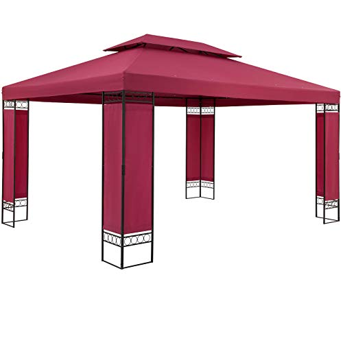 Casaria Carpa Gazebo Cenador de Jardín Rojo 3x4m PA Resistente Intemperie Estructura Acero pulverizado