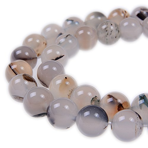PLTbeads 8mm White Flower Agate Smooth Round Shape Natural Gemstone Loose Beads For 1 Strand per Bag Approxi 15.5 inch 48-50pcs Jewelry Making
