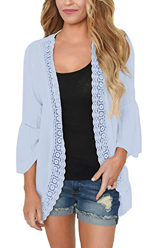 PRETTODAY Women's Summer Kimono Cardigans Ruffle Bell Sleeve Sweaters Lace Cover Up Loose Blouse Tops Light Blue