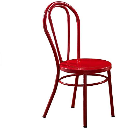 WYL Executive Recline Lounge Chairs, Metal Style Retro Kitchen Chairs Room Family Home Furniture Sturdy Dining Chairs Padded Office Chair (Color : Red)