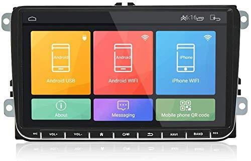 Coche Estéreo Auto Audio Player Doble DIN FM Radio Android 8.1 SAT NAV LCD Monitor De 9 Pulgadas Pantalla Táctil De Navegación GPS Compatible Para VW Passat Golf Jetta Polo,8 core 4G+WiFi 2+32GB