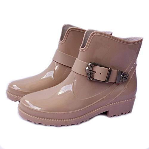 YJxiaobaozi Regenlaarzen dames wig waterdichte regenbroek beige ronde kop metalen gesp met schoenen vrouw regen water rubber laarzen gesp armband Botas