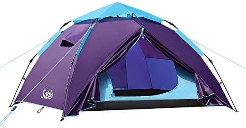 Sable Pop Up Beach Tent Purple, Sun Shelter 2 3 Man Tent for Kids Adults Windproof Waterproof and Quick Set-up, with Carry Bag for Outdoor Garden, Camping, Fishing, Picnic, 210 x 190 x 120 cm