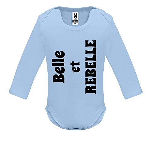 Body bébé - Manche Longue - Belle et Rebelle - Bébé Garçon - Bleu - 12MOIS