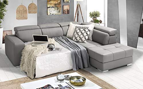 Dafne Italian Design Sofá cama esquinero de 3 plazas con chaise longue a la derecha. Polipiel gris Ash (266 x 230 x 94 cm)