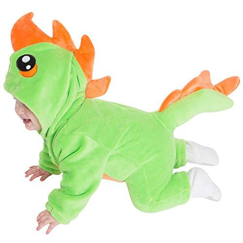 corimori 1850 (4+ designs) Byte il Dinosauro Costume Pagliaccetto Neonati Tuta Kigurumi Animale Pigiama Intero, (70-90 cm), Verde