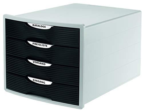 HAN Cajonera MONITOR – Diseño innovador y atractivo de la más alta calidad, con 4 cajones cerrados para DIN A4/C4, caja de almacenamiento disponible exclusivamente en Amazon, color blanco y negro