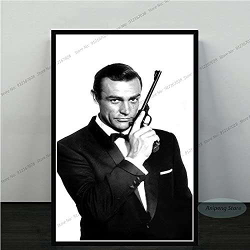 meishaonv Sean Connery Attore di Film James Bond 007 with Guns Poster Art Canvas Painting Picture for Living Room Home Decor A1907 50 × 70 CM Senza Cornice