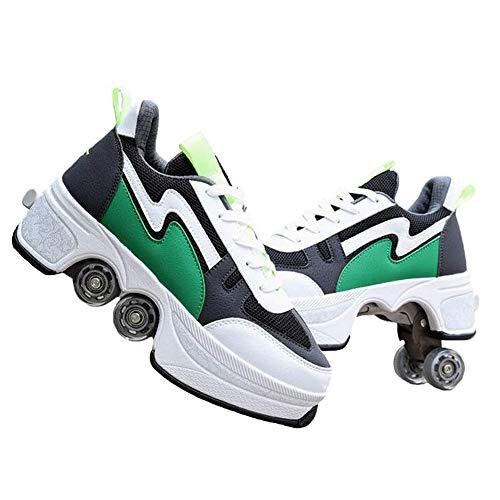 TTIK Deformables Polea Zapatos Automática De Skate Zapatillas con Ruedas Doble Rodillo Zapatos De Skate Zapatos Invisible De Polea De Zapatos De Doble Propósito para Niños/Niñas