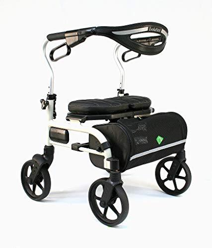 Evolution Trillium Lightweight Medical Walker Rollator with Seat Large Wheels Brakes Backrest Basket for Seniors Indoor Outdoor use