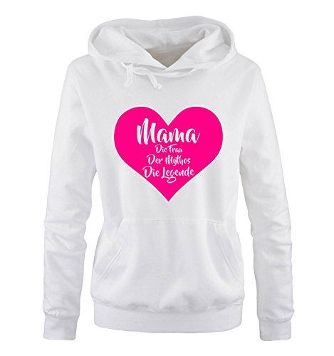 Comedy Shirts – Mama la femme de la Mythos la légende – Sweat à capuche pour femme – Capuche – Poche kangourou à manches longues - Blanc - XL