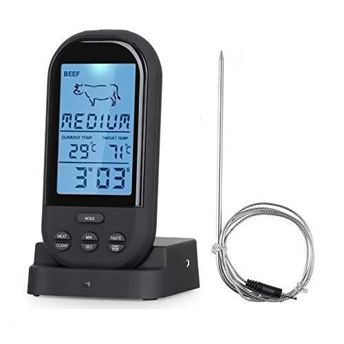 SVNA Thermomètre Alimentaire de Cuisine Alarme de minuterie numérique électronique sans Fil pour Viande Eau Lait Cuisson Barbecue Four thermomètre (Color : Black)