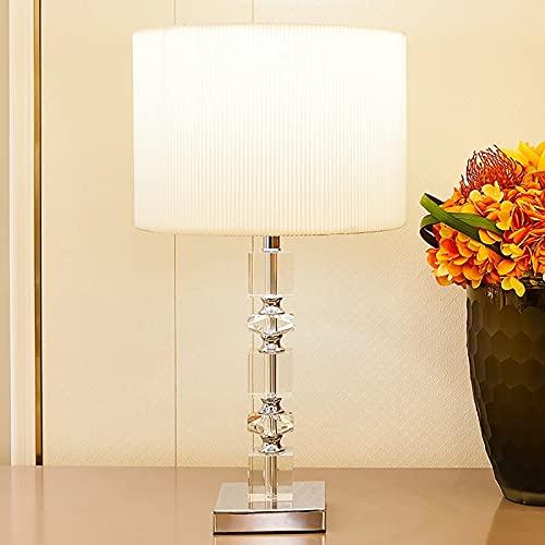 YSNJG Lámparas de Mesa Cuadradas de Cristal Lámpara de Mesa LED con Base de Acero Inoxidable para Dormitorio Lámpara de Noche Lámparas de Mesa Modernas