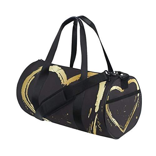 Love Gold Heart Vintage Sport Gym Bag per donne e uomini Viaggio Duffel Bag
