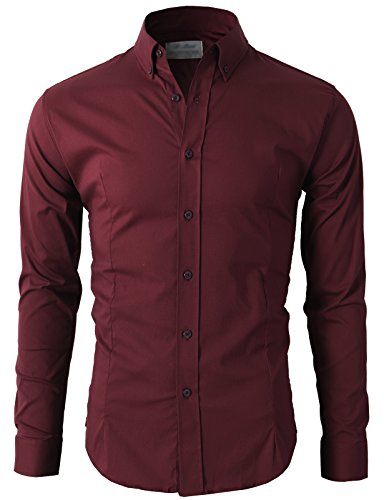 H2H Men's Slim Fit Long Sleeves Casual Shirts Wine US XL/Asia 4XL (KMTSTL0489)
