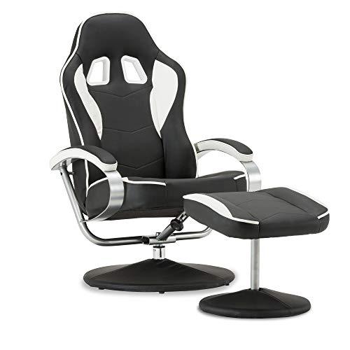 MCombo Racing Gaming Stuhl mit Hocker, 360°drehbarer Relaxsessel mit Liegefunktion, moderner Fernsehsessel TV-Sessel für Wohnzimmer, Kunstleder, 9012 (Weiß+Schwarz)