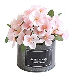 hbz11hl Potted Artificial Begonia Flower Iron Pot Bonsai Home Garden Party DIY Decor for Office, Coffee House