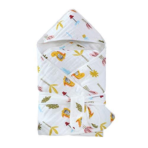 MJLOMJ 2 Piezas Capa de Bano Bebé Recien Nacido Toallas de Bano con Capucha Gasa de Algodón Respirable Manta con Capucha, Niños Y Niñas, Lavable en la Lavadora, 0-3 Años