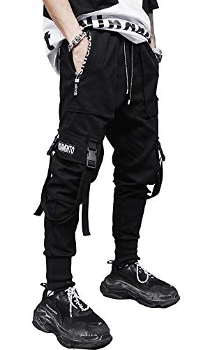 Tasty Life Pantalon De Jogging Sarouel pour Homme Modèles D'explosion De Printemps Pantalon Hip Hop Noir Pantalon De Sport Noir Multi-Poches Streetwear Salopette pour Hommes(M,Black)