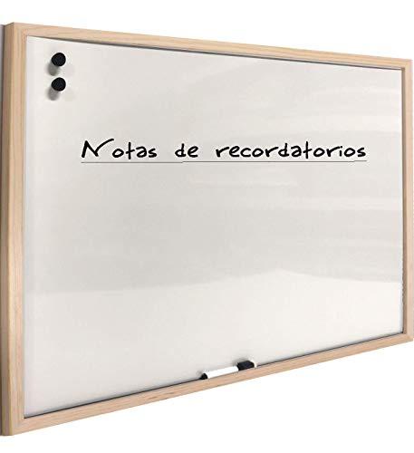 Chely Intermarket Pizarra blanca magnetica 90x60cm/Perfil-Marrón/con marco de madera. Perfecta para usar en casa y la oficina, superficie magnética suave y deslizante(555-60x90-2,70) (90x60 cm)