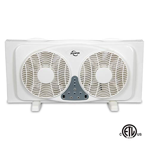 JPOWER Digital Window Fan with Twin 9-Inch Reversible Airflow Blades and 3-Speed Fan Switch with Built-in Thermostat, ETL Safety Listed
