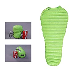 [COMFORTABLE] 800 filling power & soft skin fabric ,keep you warm and comfortable all night.Recommend Sleepzone:+6℃(52℉ to +11 ℃(52℉) [ULTRALIGHT] Net weight only 528g,good for backpacking.Best Budget Down Sleeping Bag for Ultralight Backpacking. [Ea...