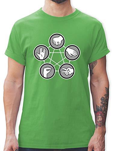Nerds & Geeks - Rock Paper Scissors Lizard Spock - Schere Stein Papier Echse Spock - XL - Grün - t-Shirt - Stein Schere Papier echse Spock - L190 - Tshirt Herren und Männer T-Shirts